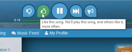 A user thumbing-up a song